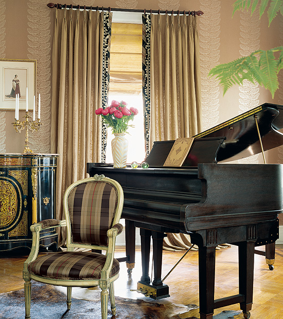 Wings to inspire plaid and checks for Piano room decor