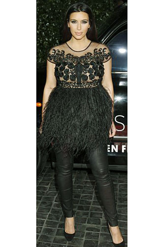 kim kardashian pregnant hot pic feather dress