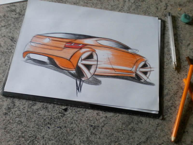 Carro laranja - 2 (desenho)