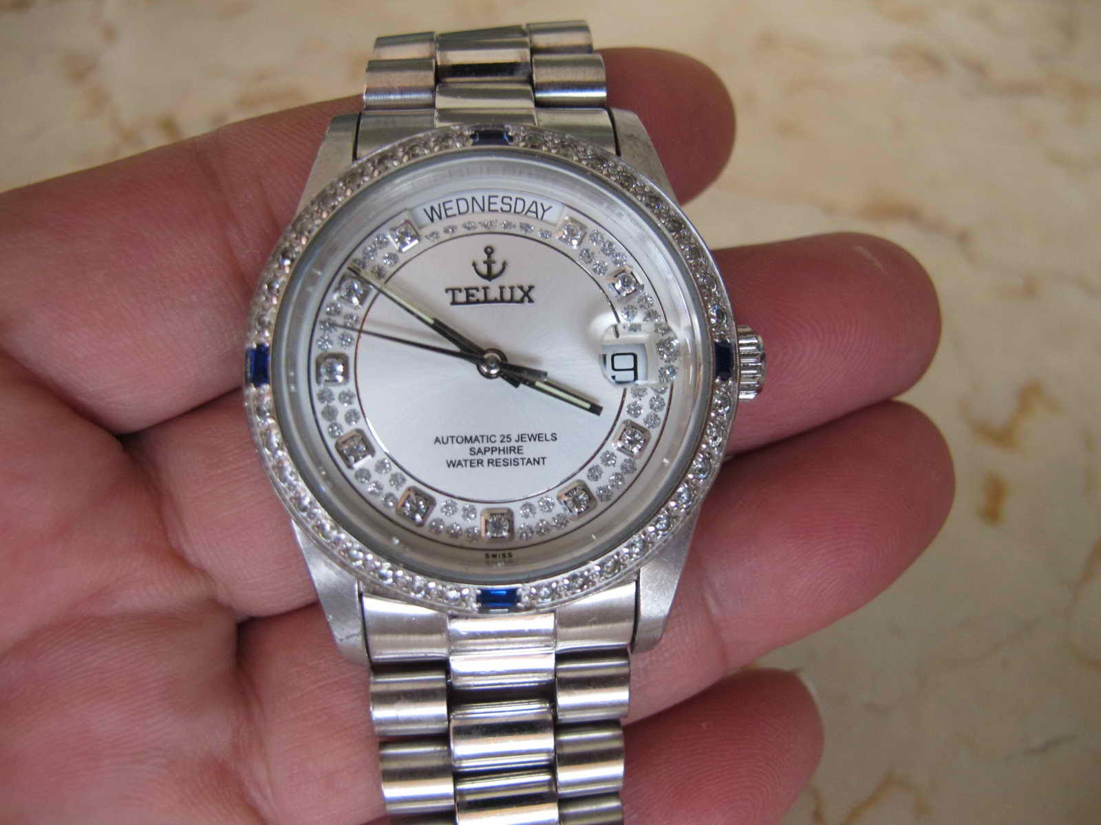 TELUX WHITE DIAL SAPPHIRE AUTOMATIC SOLD Jam tangan