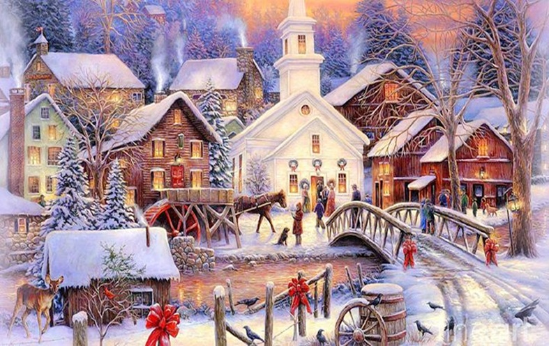 Beautiful merry christmas winter scenes images happy for Wonderful house images