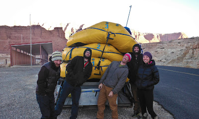 gangster lean, rafts tilting on a trailer, Grand Canyon of the Colorado, Chris Baer