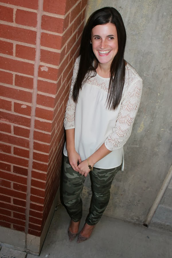 Camo, Gap camo skinny jeans, Forever 21 crocheted top, shoemint heels