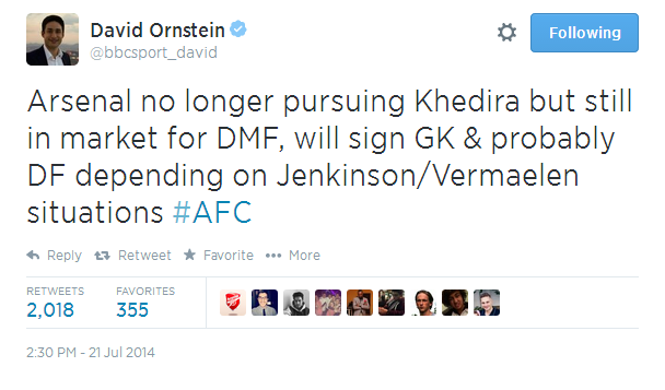 Khedira to Arsenal is nearly OFF