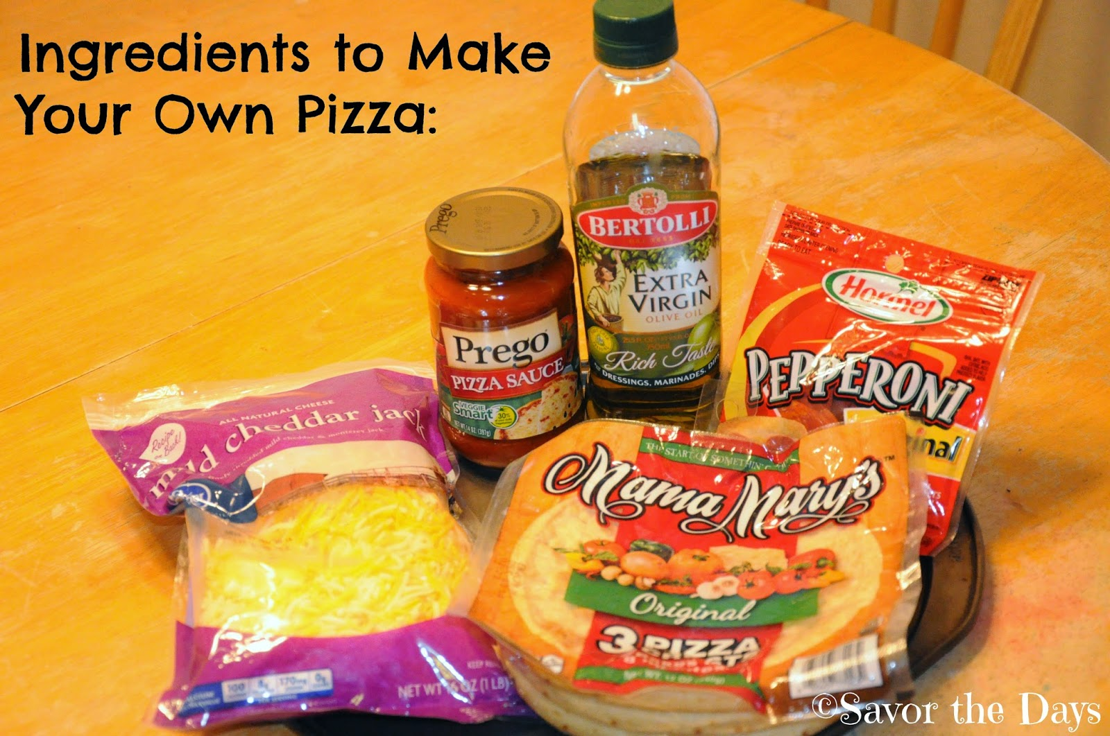 Ingredients for kids to make their own pizza