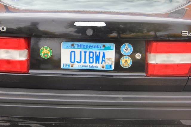 OJIBWA license plate on Volvo