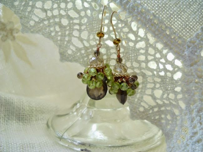smokey quartz and peridot gemstone earrings in 14/20 gf