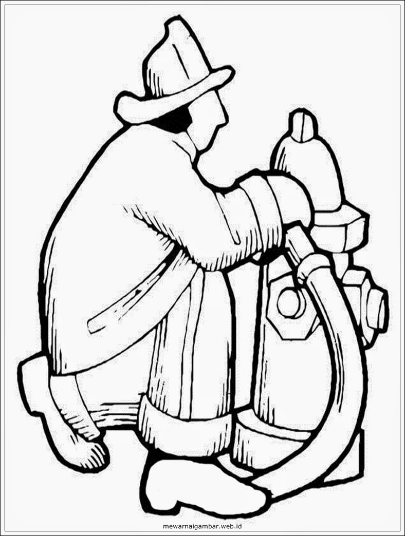 gambar sketsa pemadam kebakaran hitam putih
