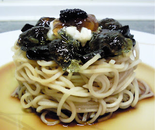 alga nori queso de cabra fideos noodles de huevo mermelada de lima limon yria brown ale caviar