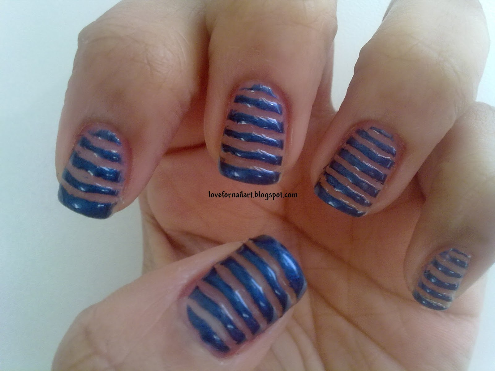 Love For Nail Art: Stripes nail art using toothpick