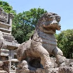 the famous yapahuwa stone lion, sri lanka