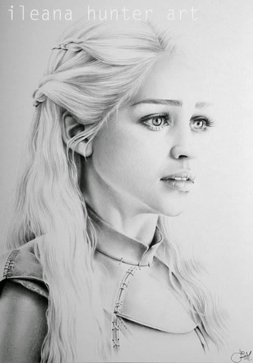 18-Emilia-Clarke-Daenerys-Khaleesi-Ileana-Hunter-Recognise-Portrait-Drawings-Detail-www-designstack-co