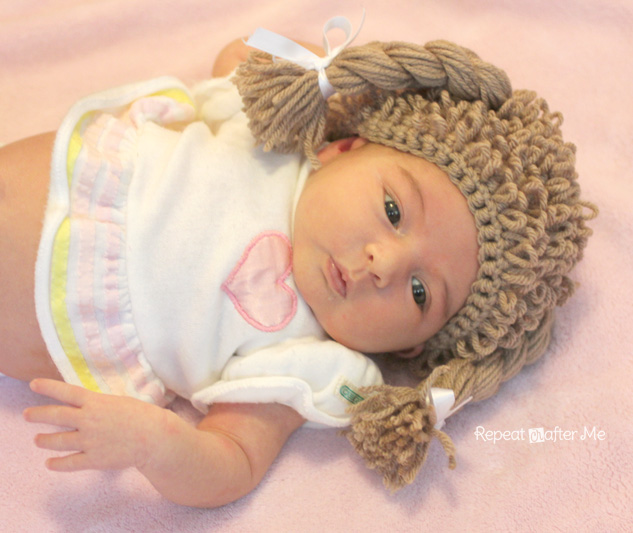 Cabbage Patch Knit Hat With Fringe And Pigtails Pattern : Repeat Crafter Me: Crochet Cabbage Patch Doll Inspired Hat