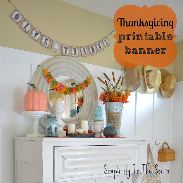Thanksgiving display and a free fall printable banner.