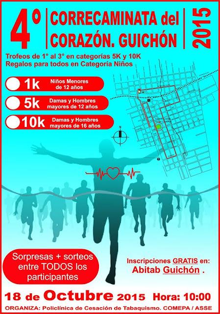 10k - 5k - 1k Correcaminata del corazón (Guichón, Paysandú, 18/oct/2015)