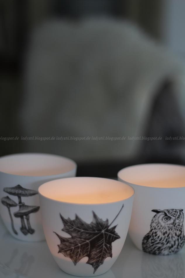 drei herbstliche Teelichter Eule, Pilz und Herbstblatt Motiv