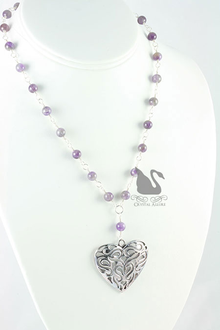 Wisteria Amethyst Gemstone Heart Pendant Necklace (N083)