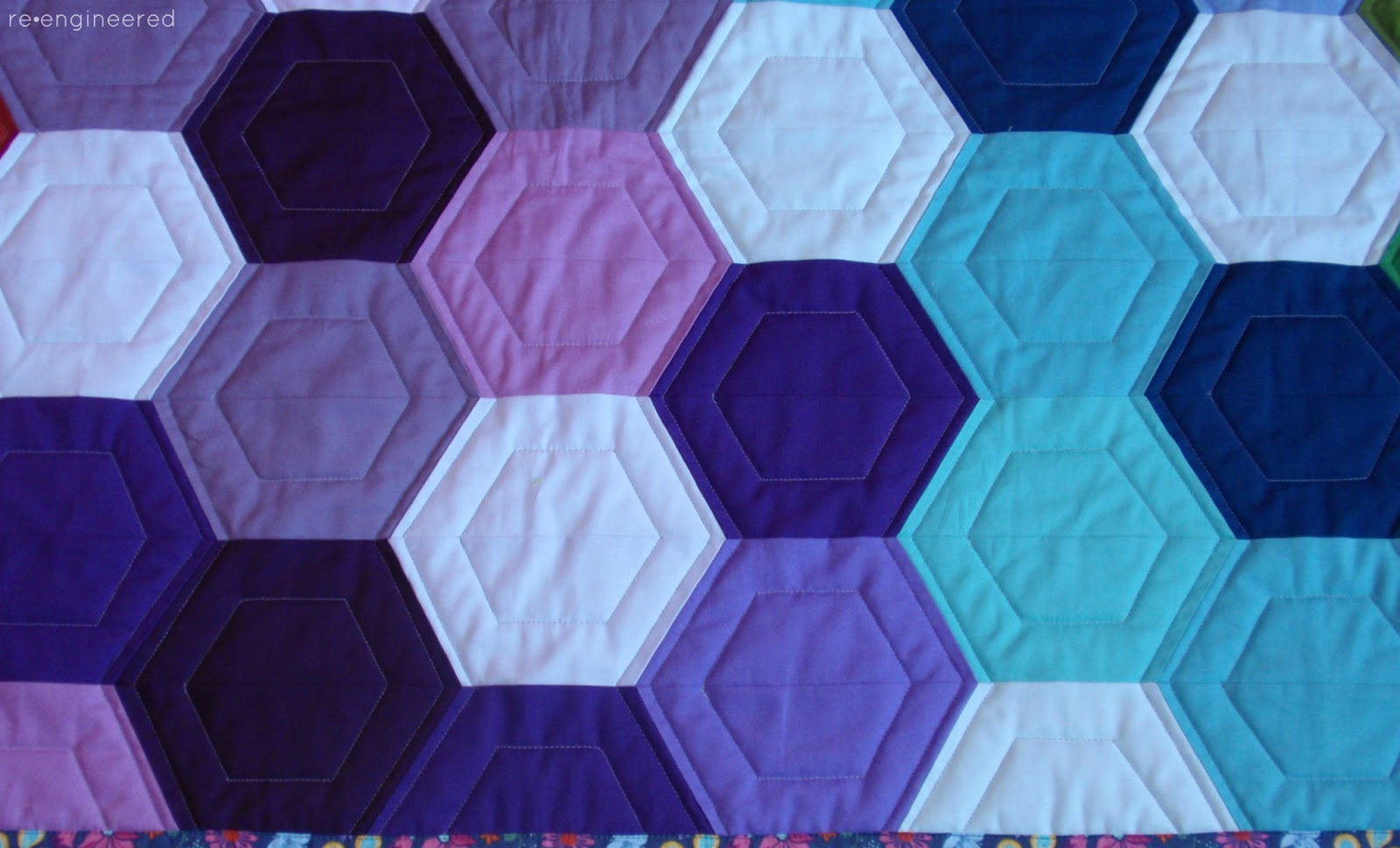 Quilting Templates Hexagon : re engineered: rainbow hexagon quilt : finished
