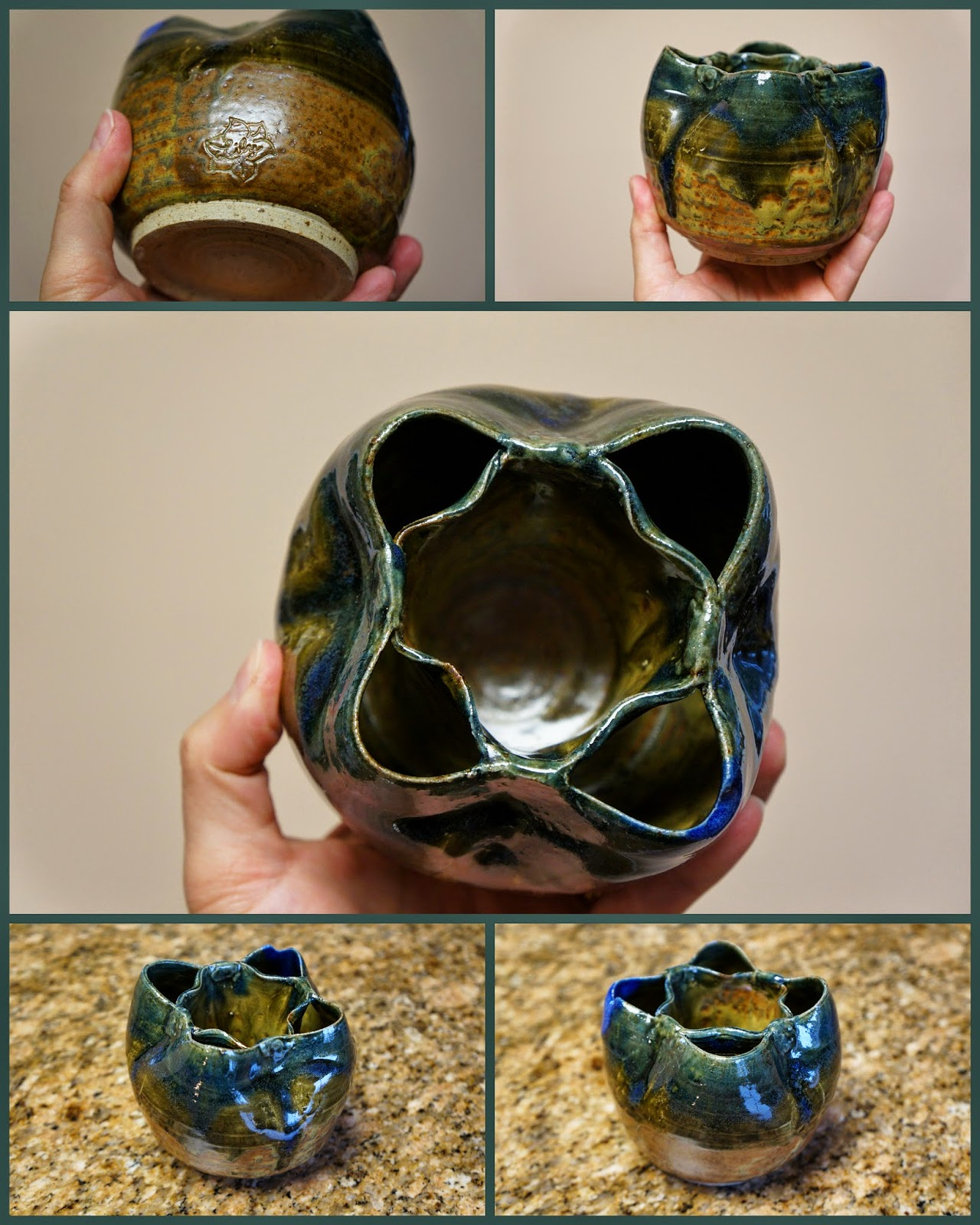 Unique handmade pottery / stoneware double walled thrown vase with multiple chambers.