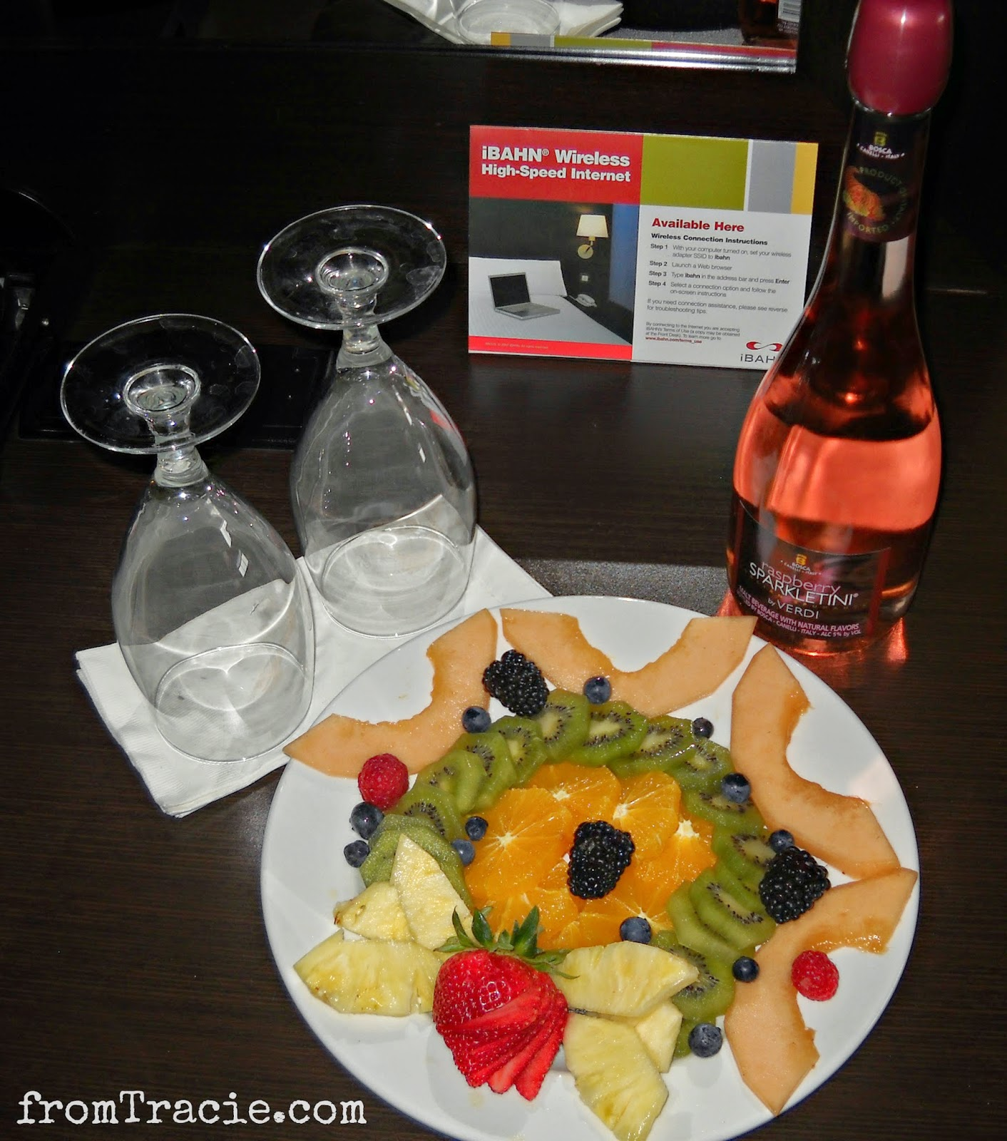 champagne and fruit plate
