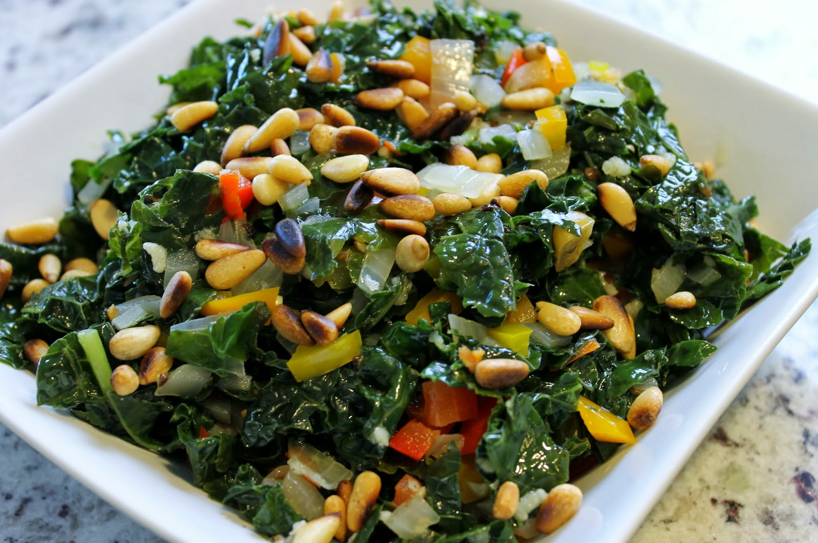 ... CW's Cafe Today - Tuscany Kale with Bell Peppers & Toasted Pine Nuts