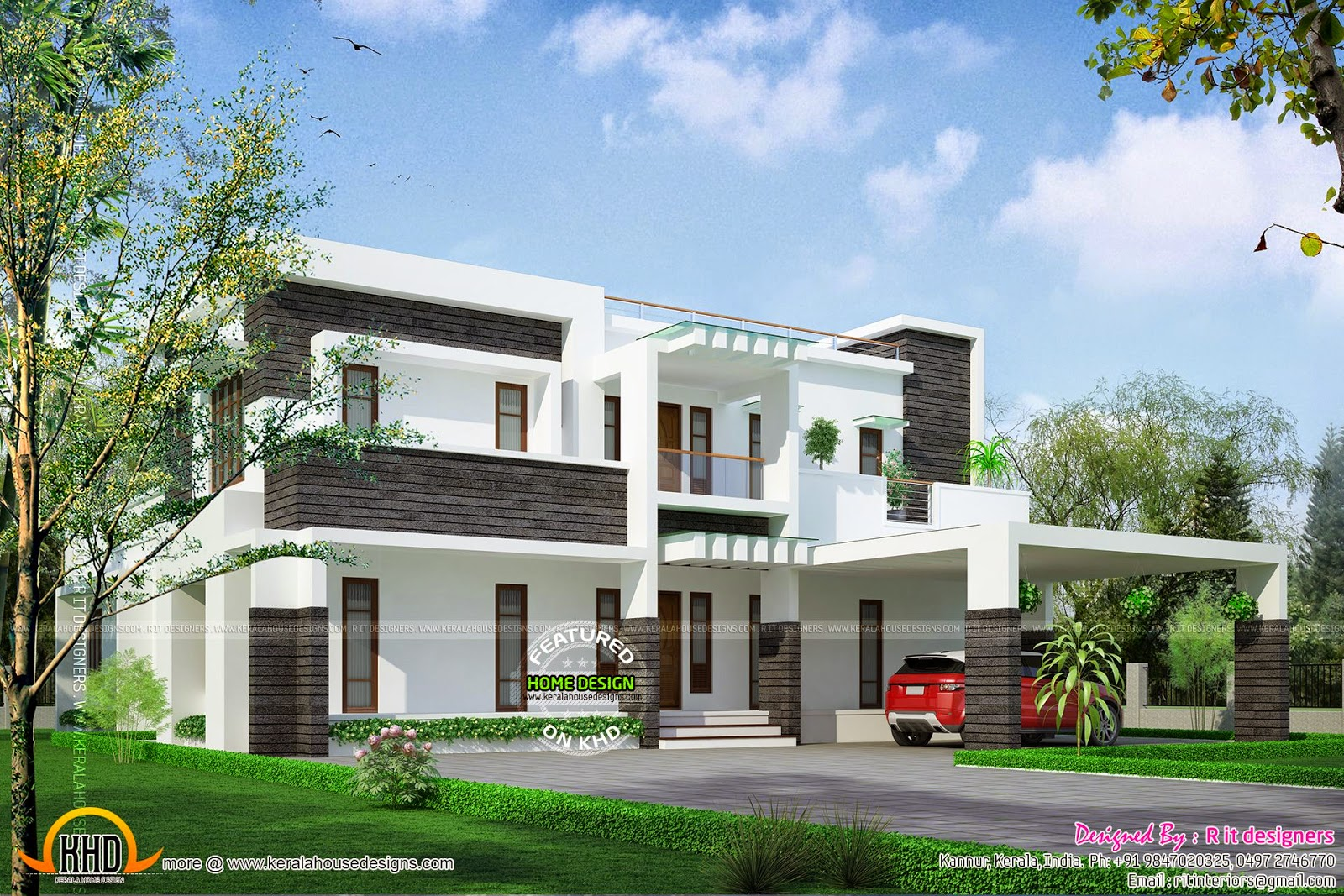 Contemporary house design in 400 square yards kerala for Square house design