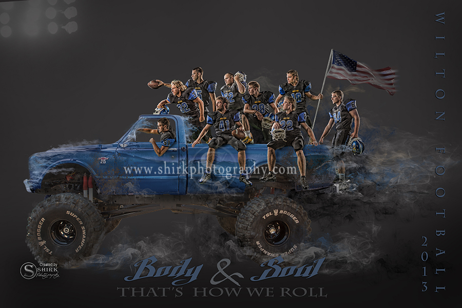 Football poster, football motto, creative composit, monster truck, american flag