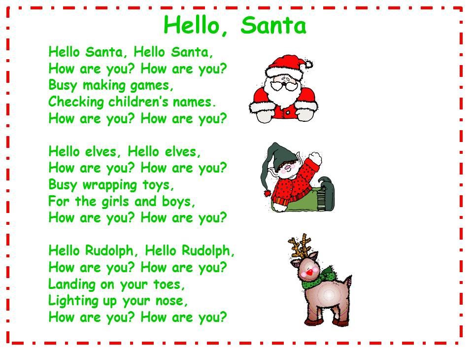 Teacher's Touch: Hello Santa Song and Song Chart