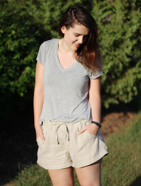 Image of me wearing the casual shorts I DIY made out of linen