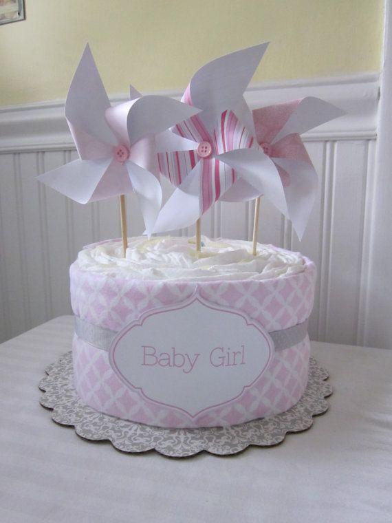 Baby Shower Decoración: Torta de pañales para niña - Baby Shower