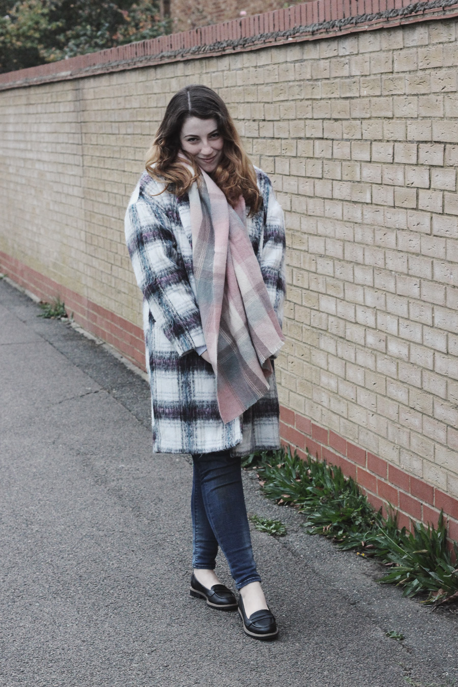primark check brushed coat