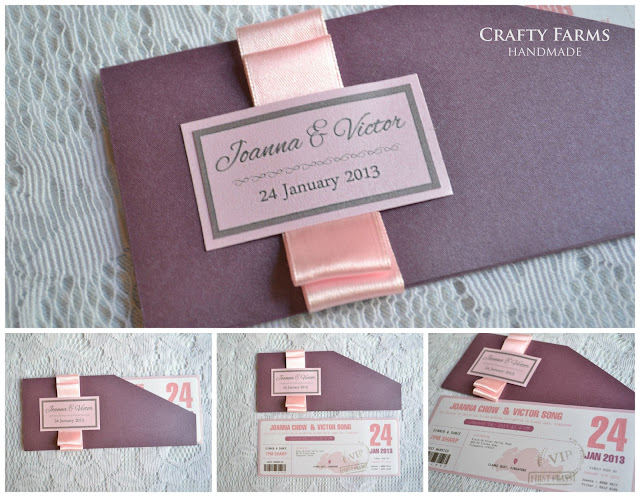 Handmade Wedding Boarding Pass Invitation with Pink Bow Singapore