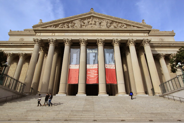 The main entrance of National Archives in Washington DC, USA
