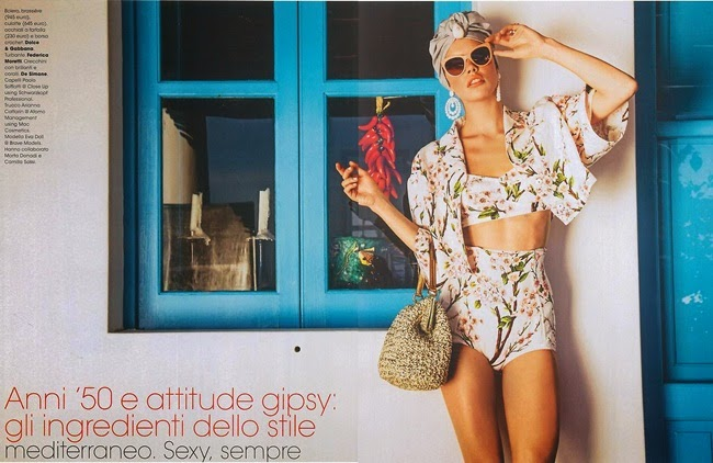 Dolce & Gabbana 2014 SS Editorial: Almond Blossoms Retro High Waisted Bikini
