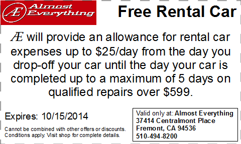 Coupon Almost Everything Free Rental Car Septemter 2014