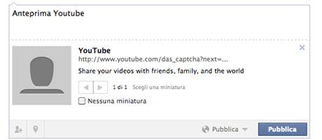 youtube facebook problema