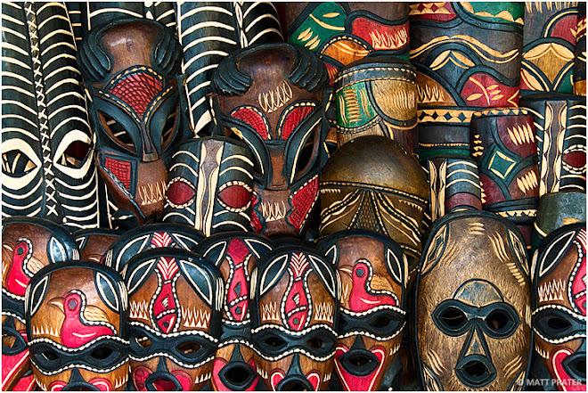 African masks in Greenmarket Square market, Cape Town, South Africa © Matt Prater