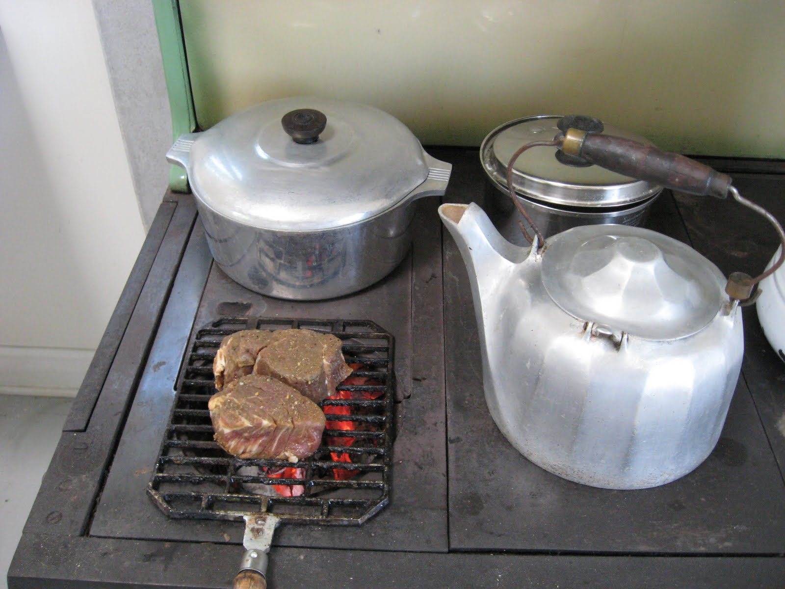 Wood Cookstove Cooking: Grilling on the Wood Cookstove