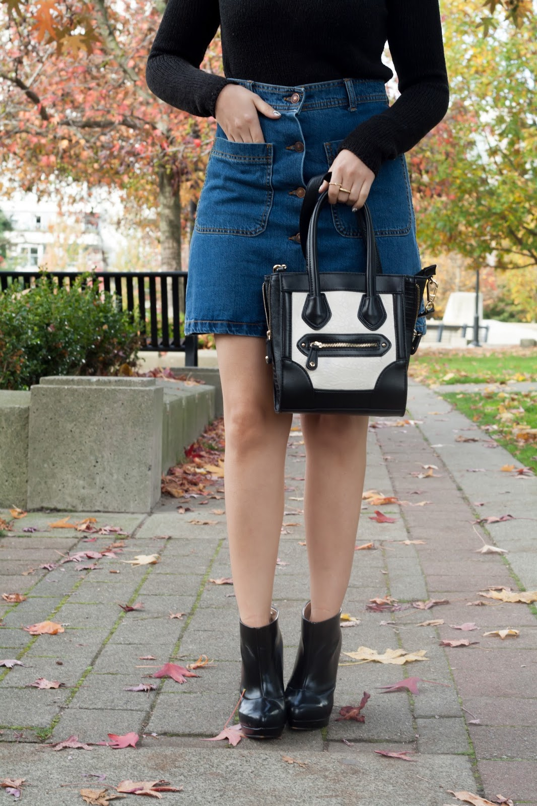 Outfit: Button Up Denim Skirt x Black 'n White | Sound of Sweet ...