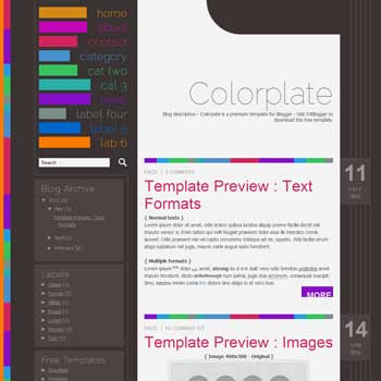 Colorplate Blogger Template. minimalist blogger template