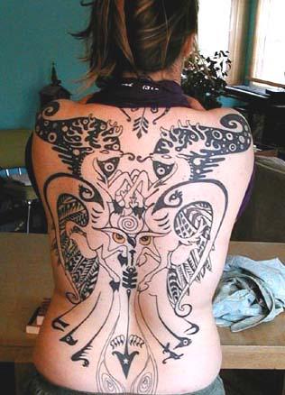 women back tattoo
