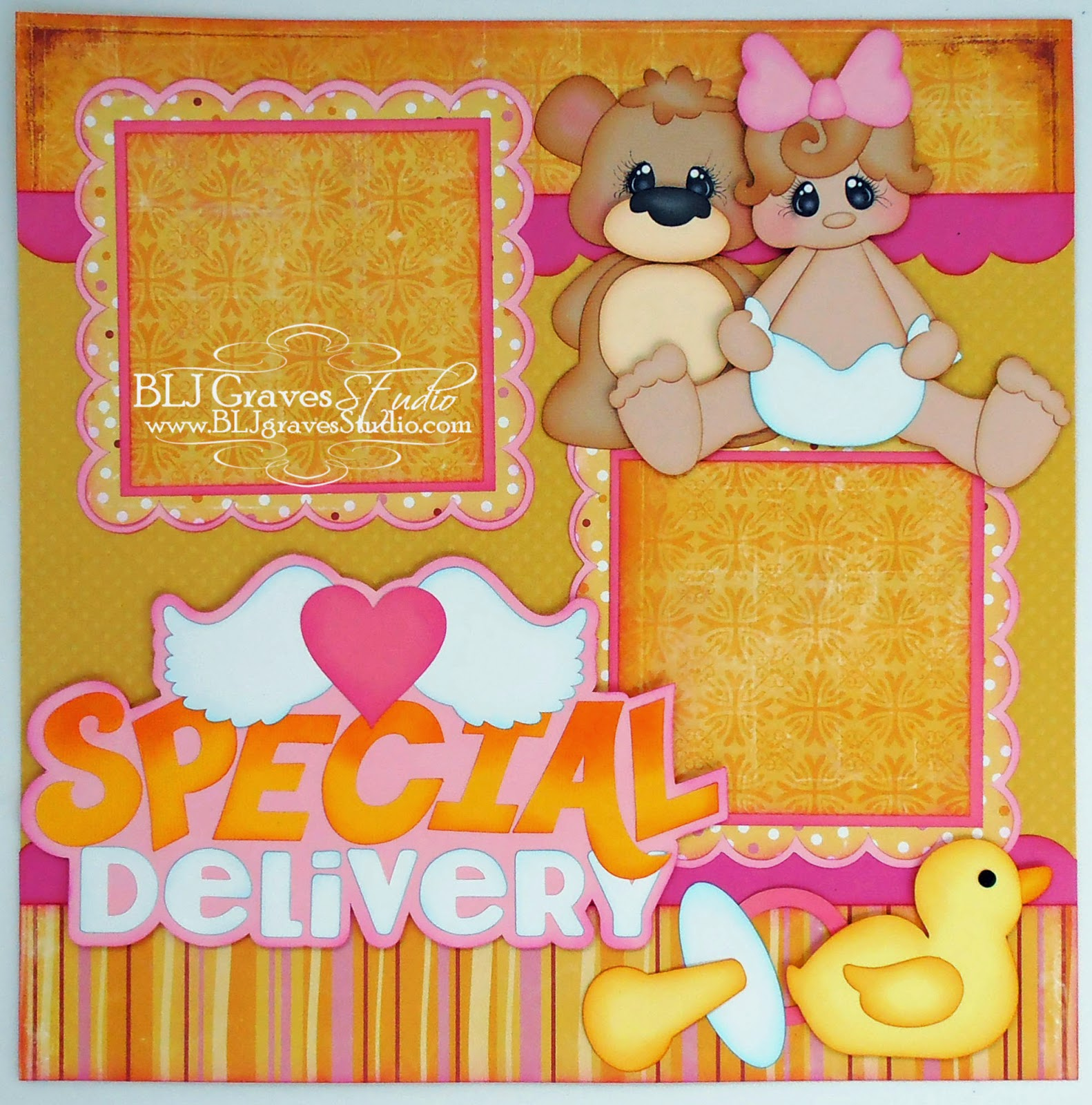 Baby girl scrapbook ideas - Files For This Layout From Treasure Box Designs Special Delivery Animal Babies