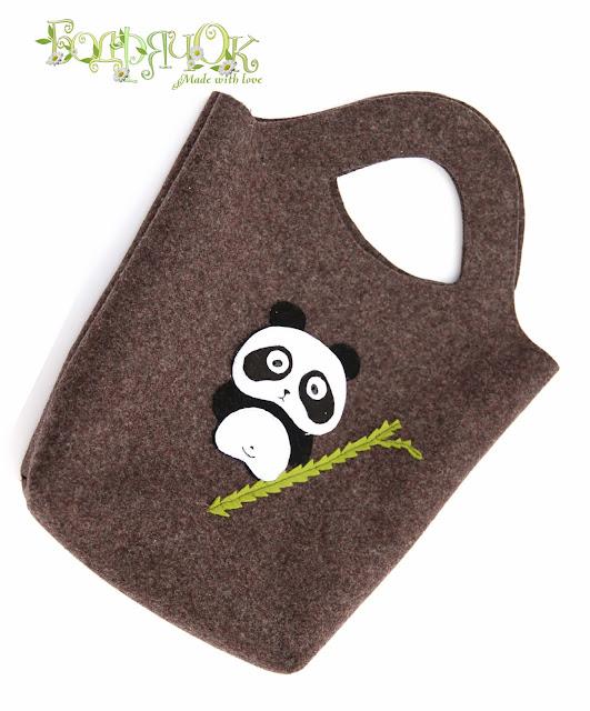 сумка из сукна, валенки, панда сумка, сумка для зимы