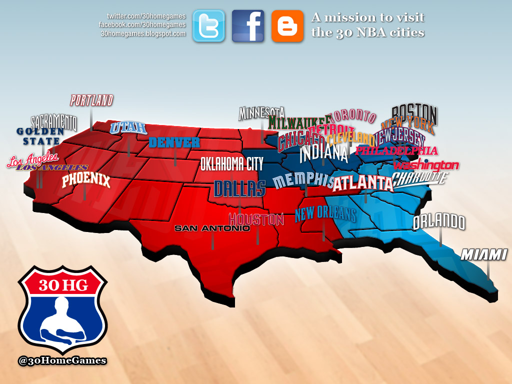 nba map, league, teams, cities, states