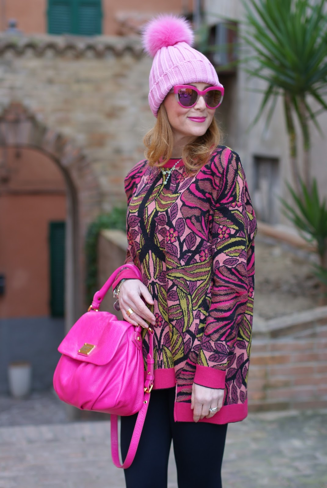 Pink beanie with furry pom-pon and Max Mara ascoli sweater on Fashion and Cookies fashion blog, fashion blogger style