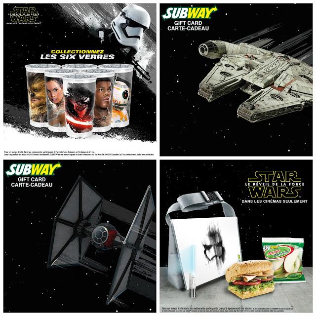 Jour 10 avant Noël: 200$ de Subway sous le thème de Star Wars