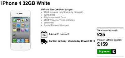 iPhone 4 White Version Three UK