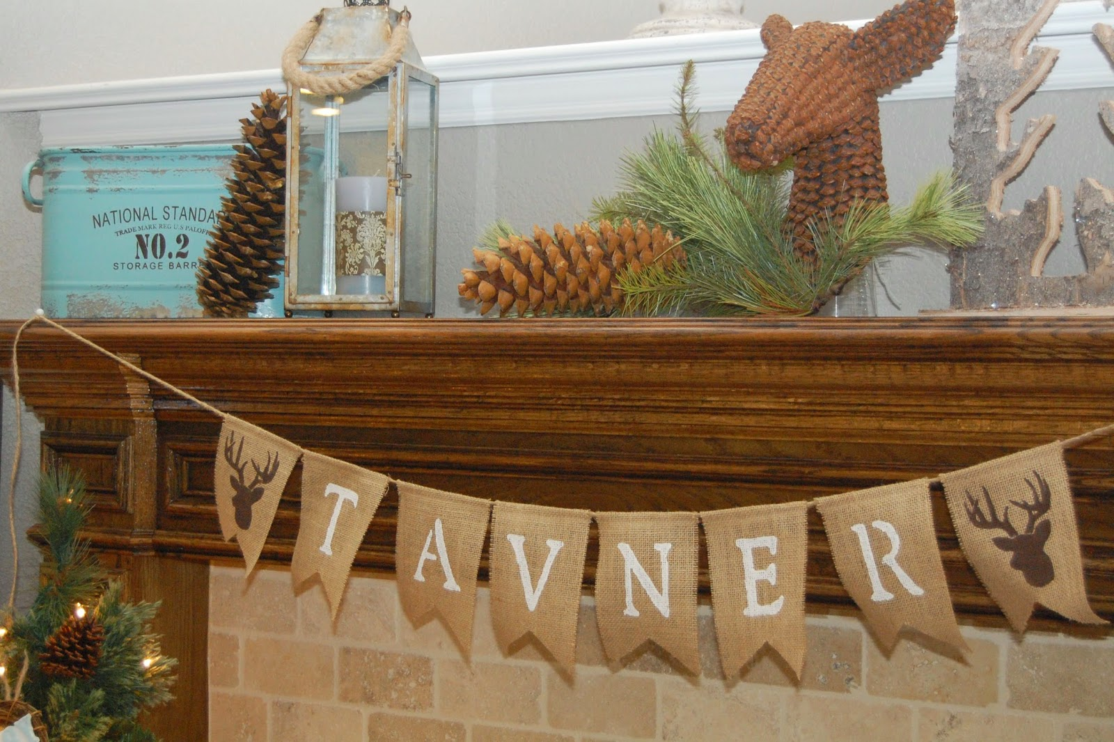 Woodland Baby Shower burlap bunting banner