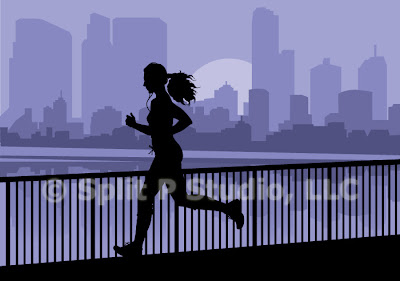 jogging vector art, female jigging in city