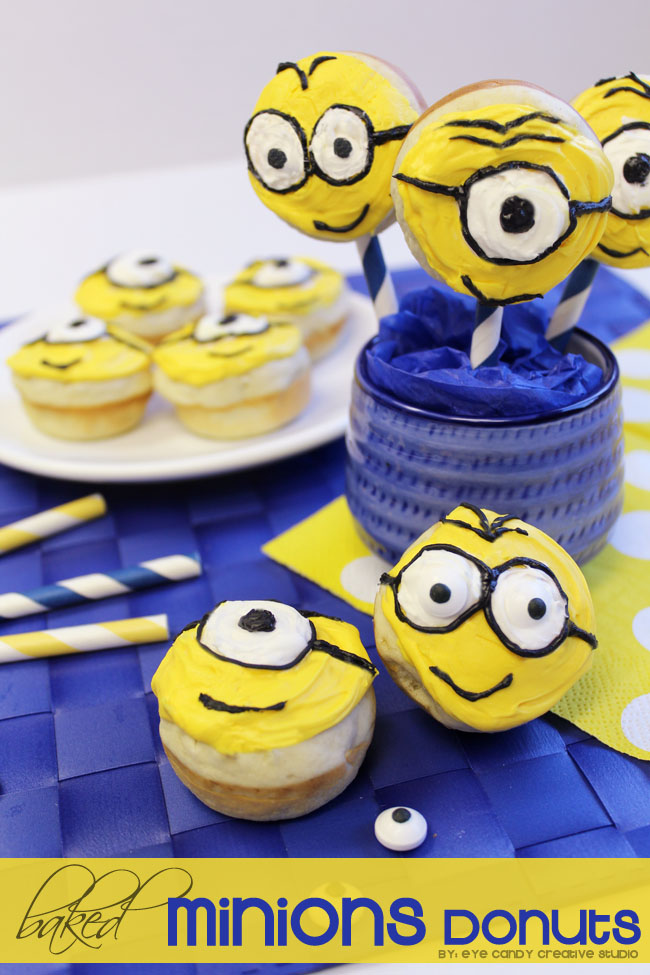 donut recipe, minions, minions donuts, baked donut recipe, kids food